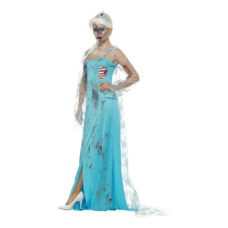 frost elsa zombie kostume til voksne elsa halloween udklædning blå halloween forklædning frozen elsa kostume til kvinder