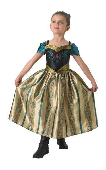 frost anna kroningskjole gruldfarvet anna kjole anna kostume kroning guld grøn kostume frost 2 frozen disney frozen udklædnin til børn frostprinsesse