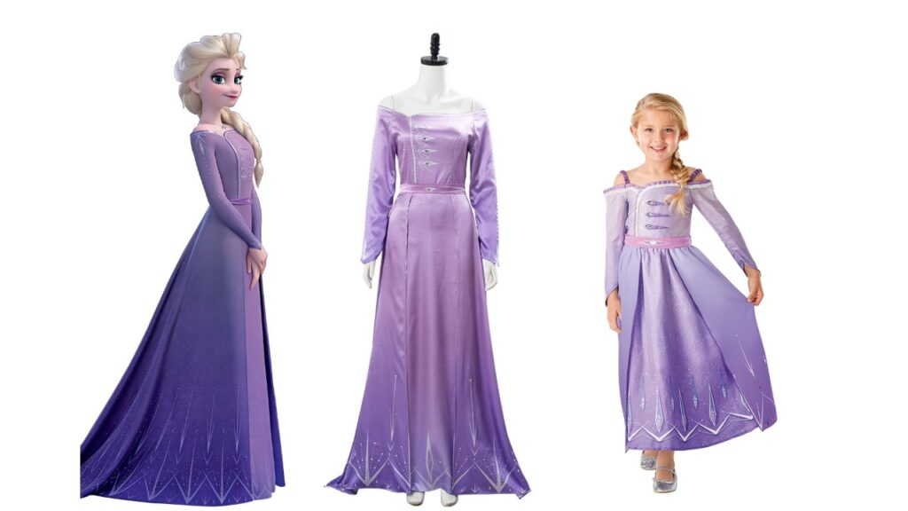 elsa lilla kjole frost 2 elsa udklædning frozen 2 lilla kostume